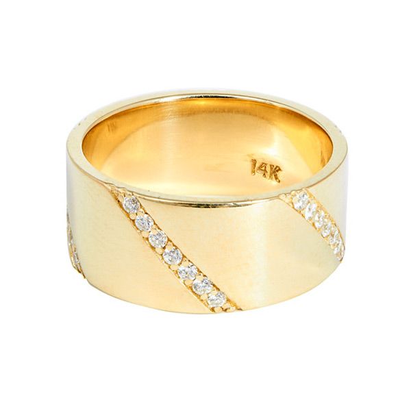 Dazzling diagonal diamond stripes add a stunning design element to this wide 14K yellow gold ring from Lana Jewelry. The high-polish piece will add instant polish to your looks, both casual and dressy. This wide and warm-toned Lana ring has an amazing aesthetic that is absolutely arresting!