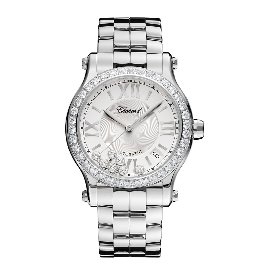 Chopard Happy Sport Stainless Steel Diamond Bezel Silver Dial Watch