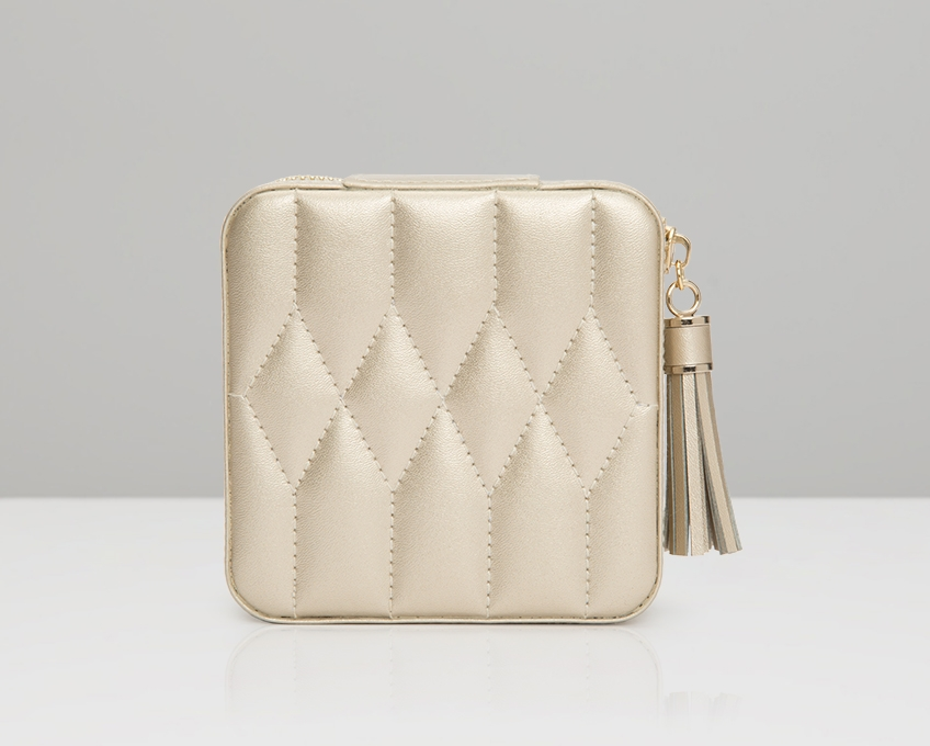Wolf Caroline Quilted Leather Jewelry Zip Travel Case in Champagne