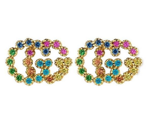 18K YELLOW GOLD GG RUNNING RAINBOW STUDS - Dunn Jeweler