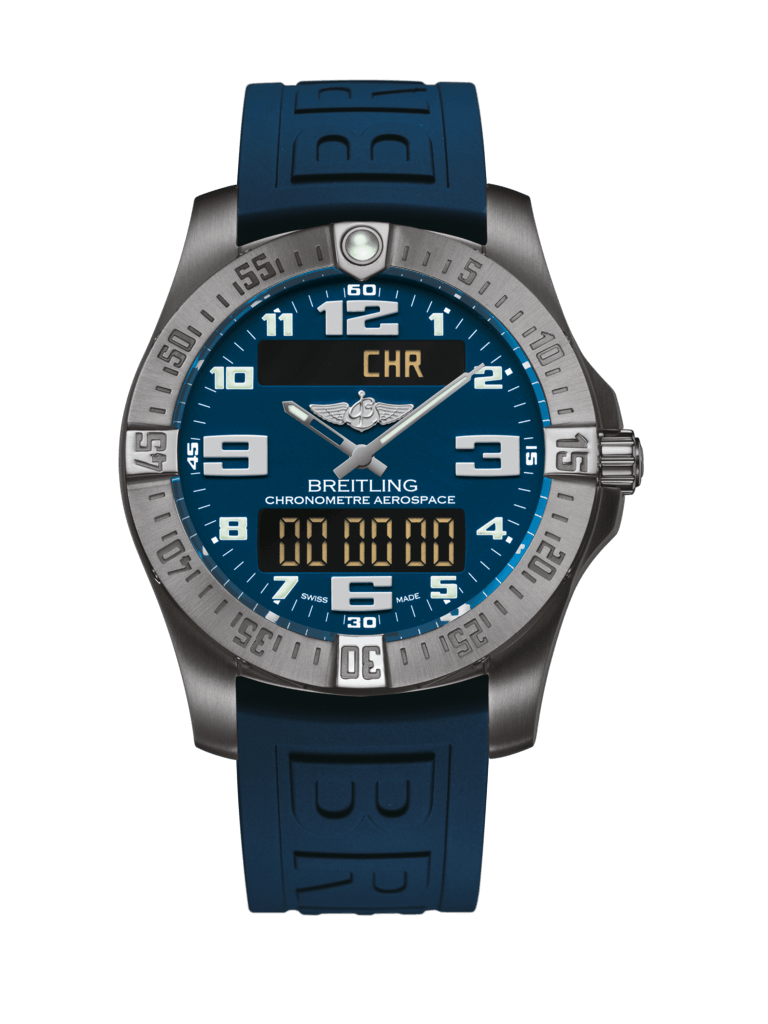 Breitling Aerospace Evo Blue Titanium Watch on Blue Diver Pro III - Tang-type Strap