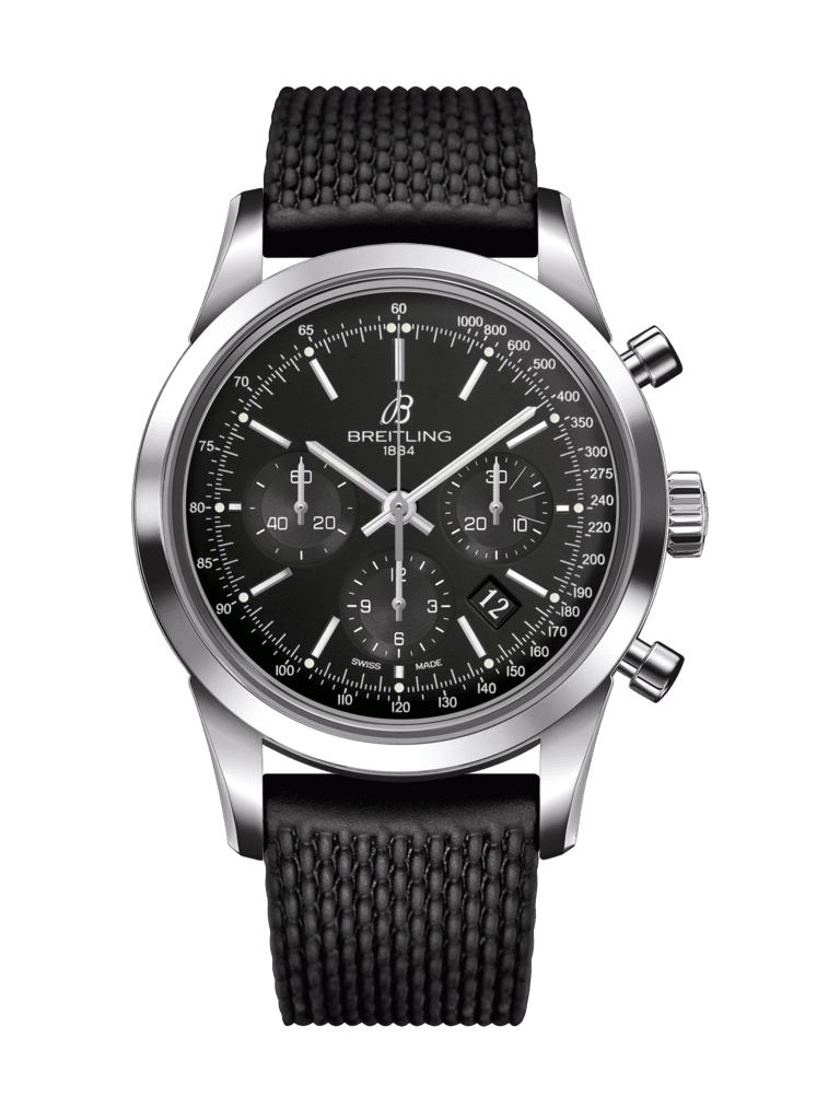 Breitling Transocean Chronograph Black Watch on Black Rubber Aero - Tang-type Strap