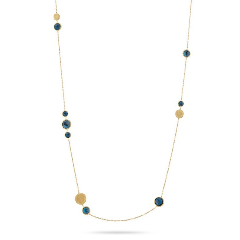 "MARCO BICEGO JAIPUR LONDON BLUE TOPAZ 36"" YELLOW GOLD NECKLACE"