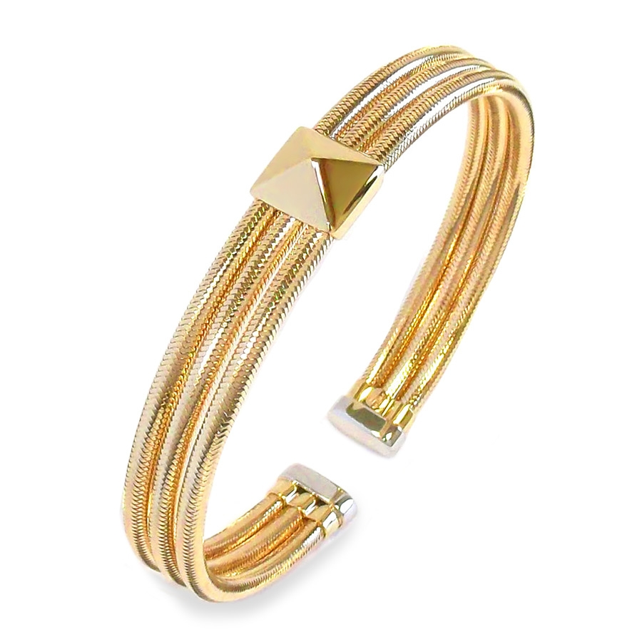 Three rows of flexible 18K yellow gold are adorned with a multi-dimensional pyramid in this cuff bracelet from Ponte Vecchio Gioielli's Nobile collection. The pretty piece of Ponte Vecchio Gioielli wrist candy will make a sweet addition to your look.