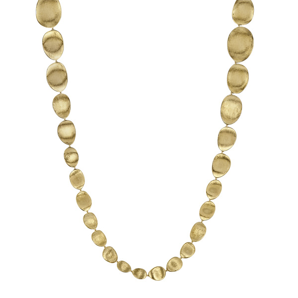 Marco Bicego Lunaria Yellow Gold Small Oval Leaf Long Necklace