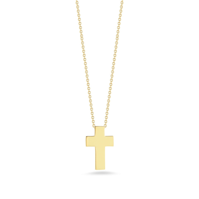 Roberto Coin Yellow Gold Cross Tiny Treasures Pendant Necklace