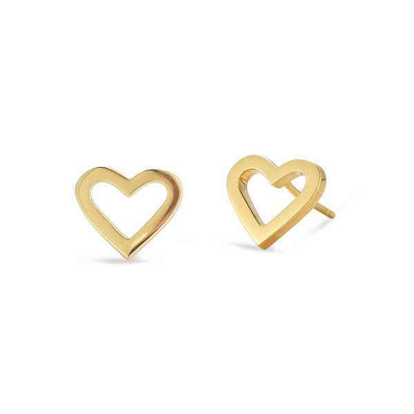 Roberto Coin Open Heart Yellow Gold Stud Earrings