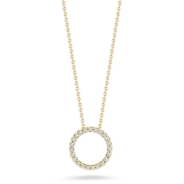 Roberto Coin Tiny Treasures Yellow Gold Diamond Circle Necklace
