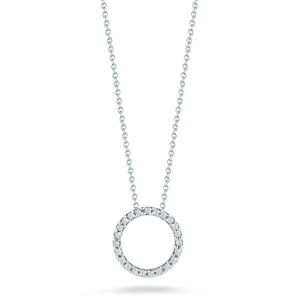 Roberto Coin Tiny Treasures White Gold Diamond Circle Necklace