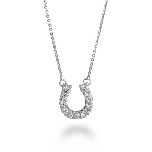 Roberto coin 18kt gold horseshoe necklace 001637awchx0 roberto coin white gold diamond horseshoe pendant aloadofball Image collections