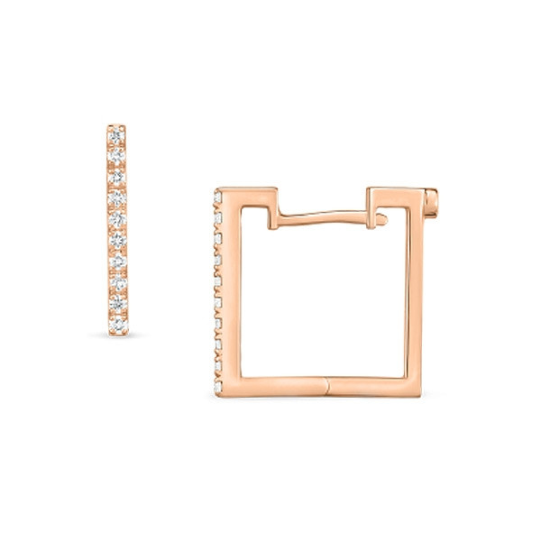 Roberto Coin Diamond Rose Gold Square Hoop Earrings