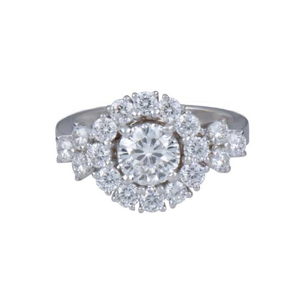 Roberto Coin Cento Gold Diamond Flower Cluster Engagement Ring Front