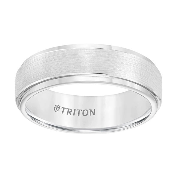 Triton White Tungsten Carbide Brush Finish Comfort Fit Band Flat View