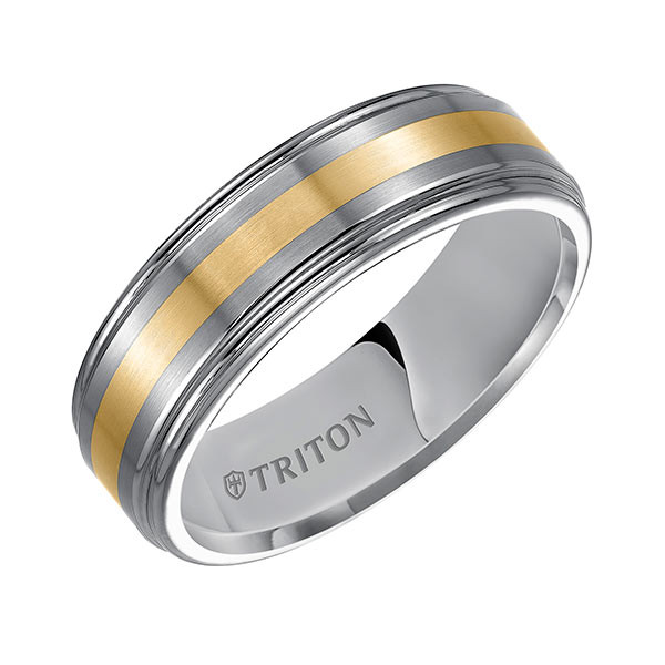 Triton Tungsten Carbide Brush Yellow Gold Comfort Fit Band Angle View
