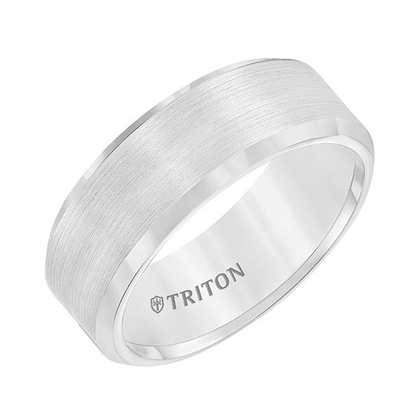 Triton White Tungsten Carbide Bevel Edge Band Angle View