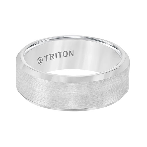 Triton White Tungsten Carbide Bevel Edge Band Flat View
