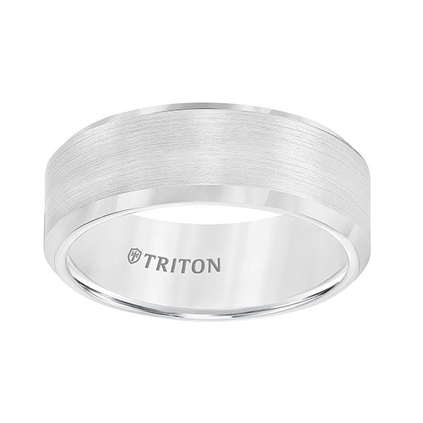 Triton White Tungsten Carbide Bevel Edge Band Flat Up View
