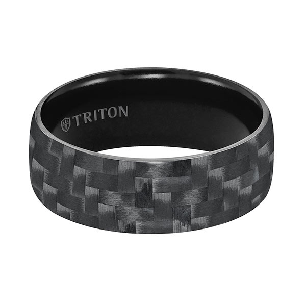 Triton Carbon Fiber TungstenAIR Domed Black Comfort Fit Band Flat View