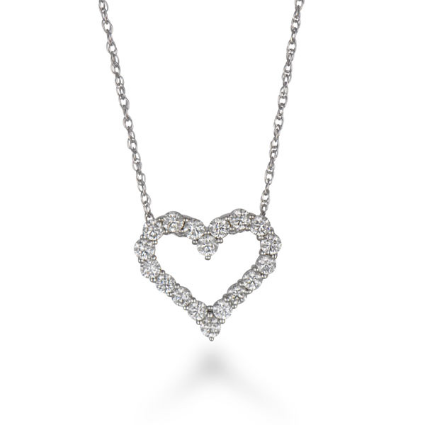 "Open Heart White Gold Diamond Pendant on 18"" Chain Necklace"