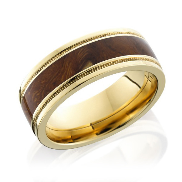 Lashbrook 8mm Desert Ironwood Inlay Flat Yellow Gold Band