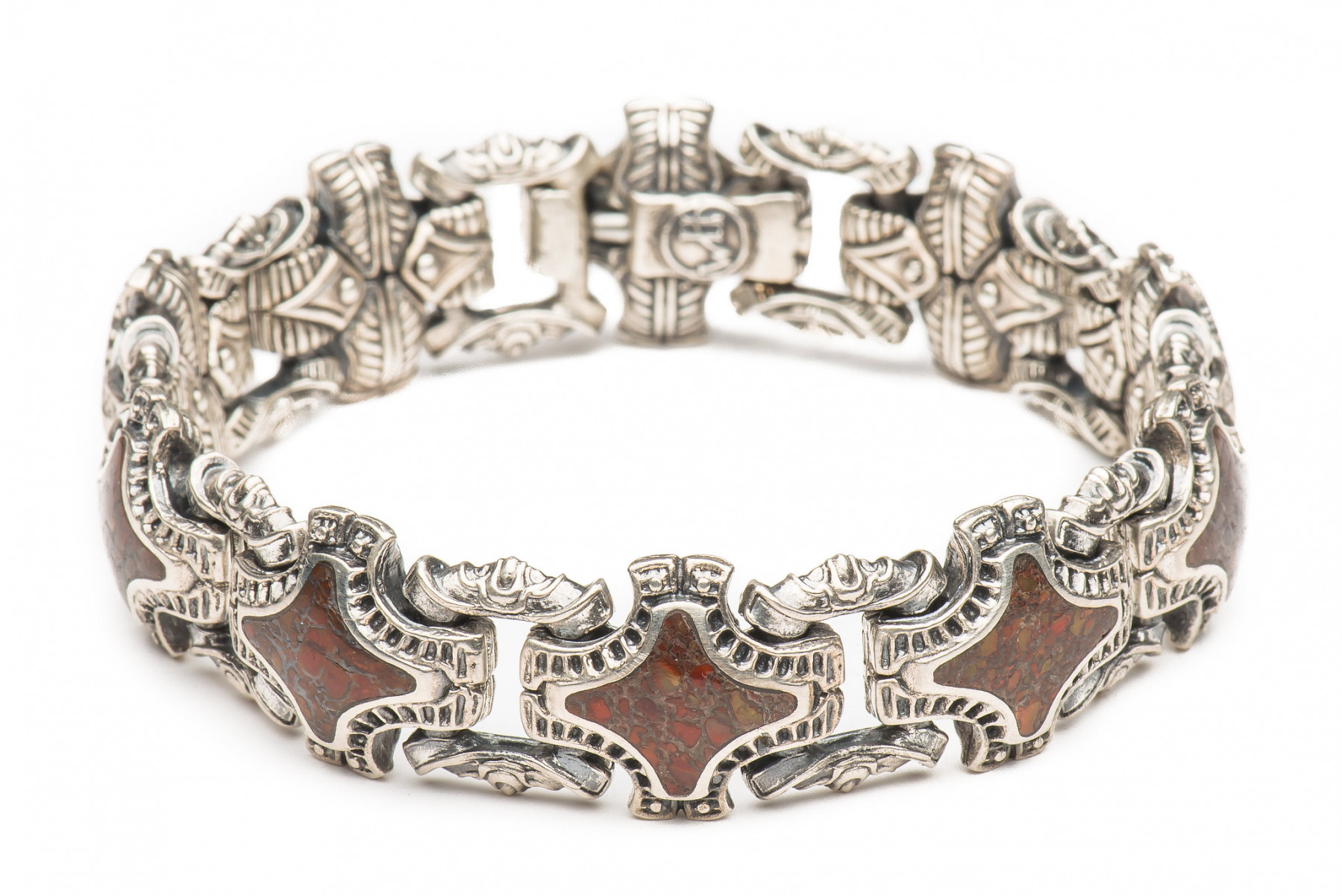 William Henry Red Fossil Silver Link Bracelet