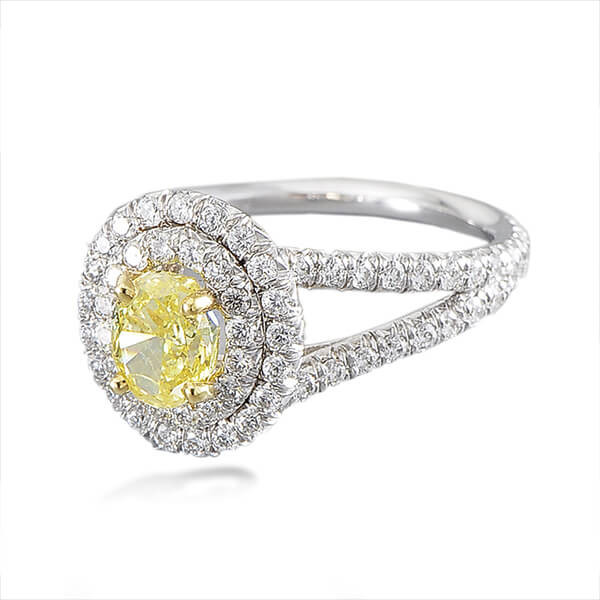 Varna Double Halo Yellow Diamond Engagement Ring