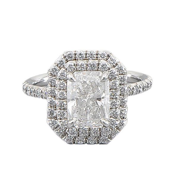 Varna Double Halo Radiant Diamond Engagement Ring