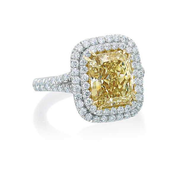 Fancy Yellow Diamond Double Halo Engagement Ring