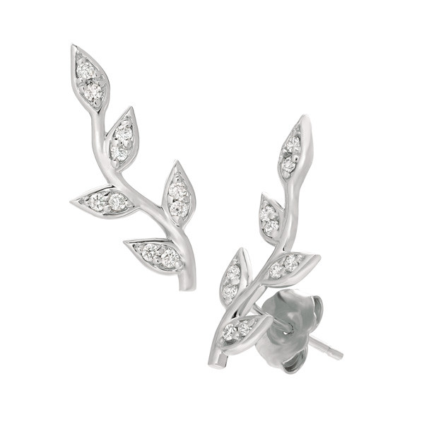 White Gold Diamond Angled Vine Ear Climbers