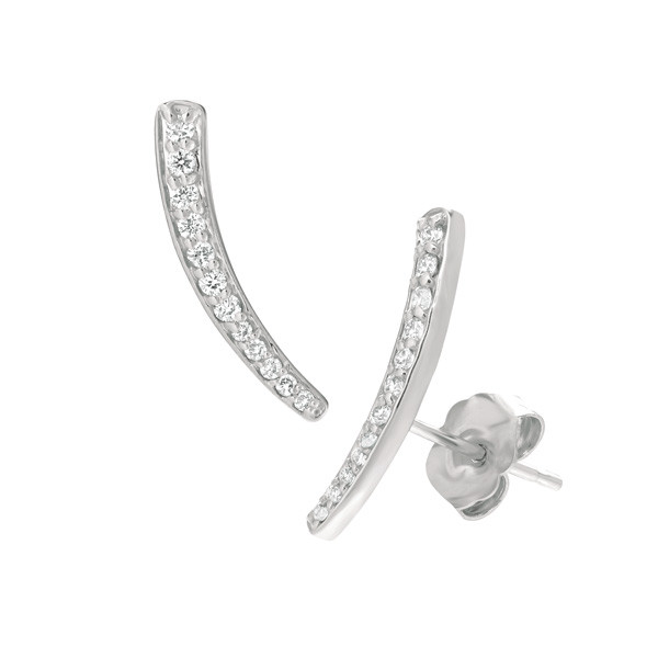 Small White Gold Diamond Ear Climbers