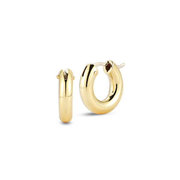 Roberto Coin Yellow Gold Small Wide Hoop Earrings
