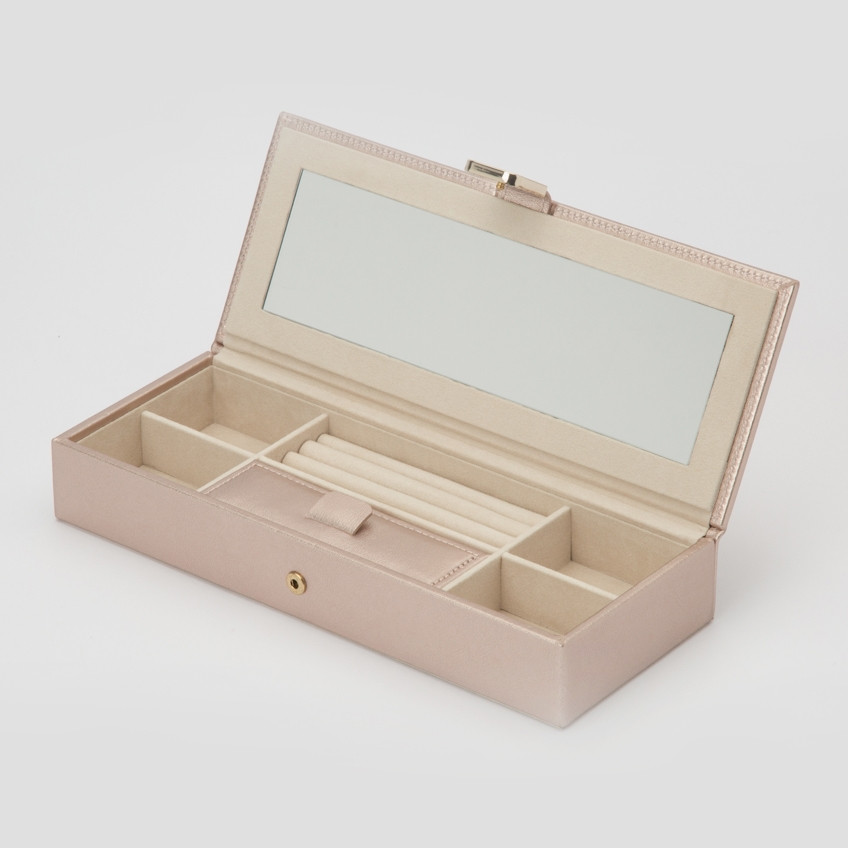 Wolf Rose Gold Leather Palermo Safe Deposit Box Open View