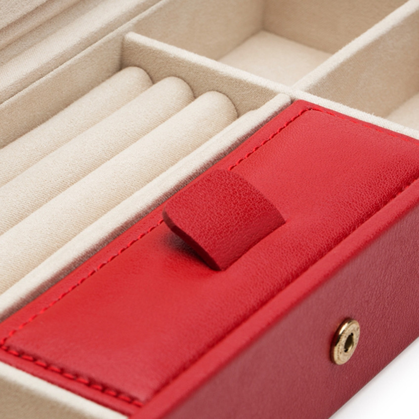 Wolf Red Leather Palermo Safe Deposit Box