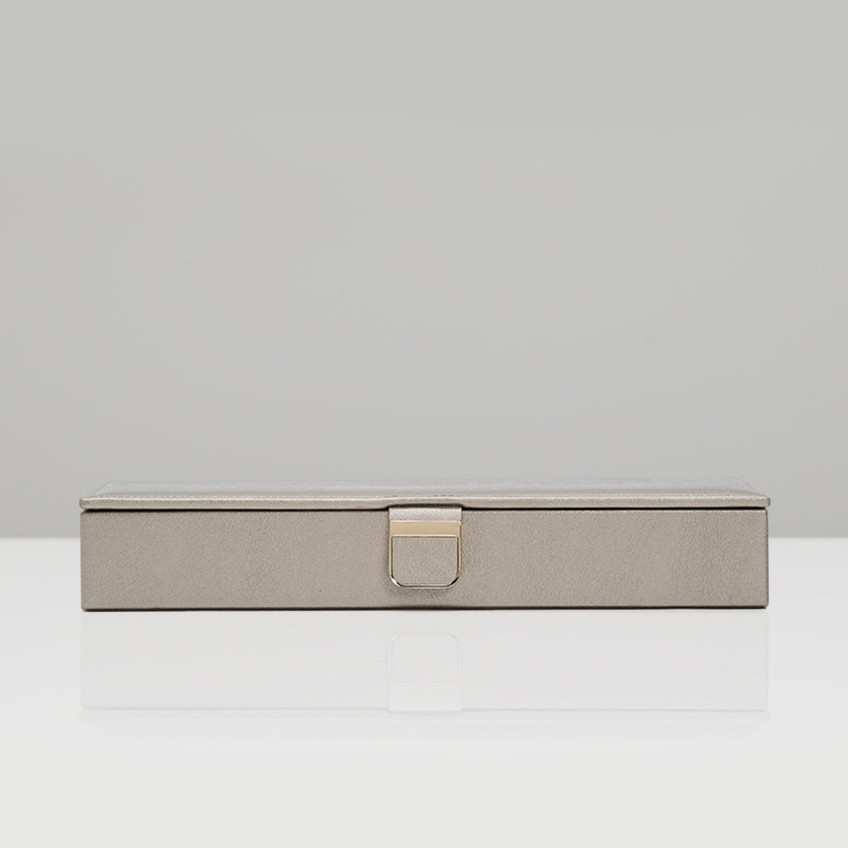 Wolf Pewter Leather Palermo Safe Deposit Box Front View