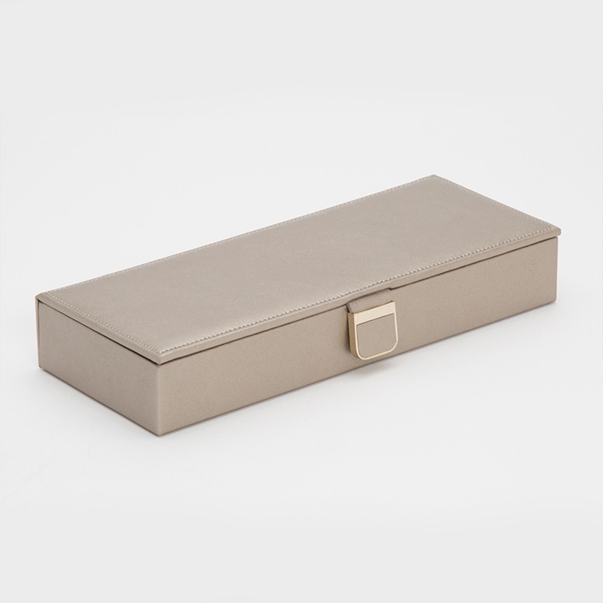 Wolf Pewter Leather Palermo Safe Deposit Box Angle View