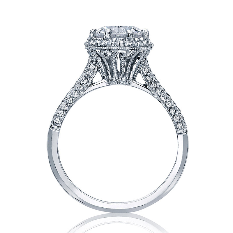 Tacori 2502-RDP Simply Tacori Platinum Bloom Engagement Setting Side View