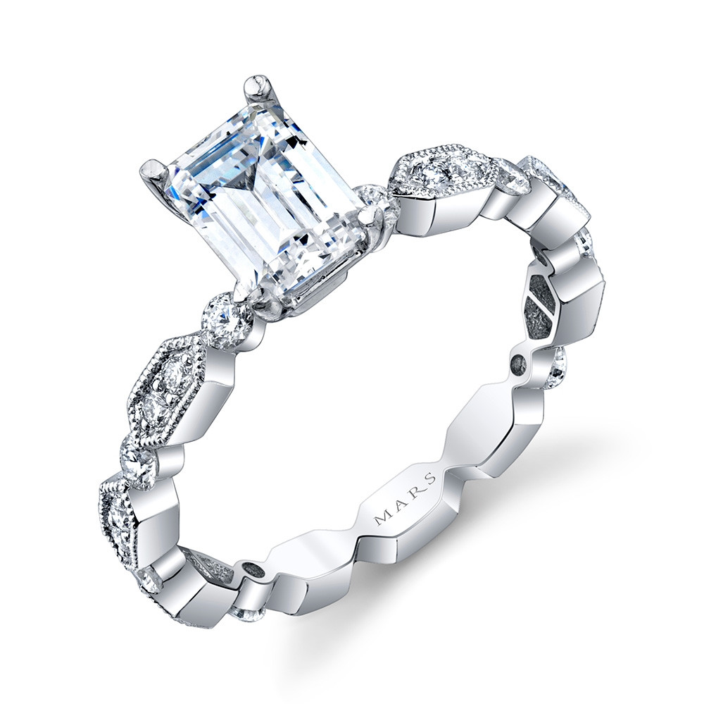 MARS Ever After White Gold Emerald Cut Diamond Geometric Engagement Setting Angle View