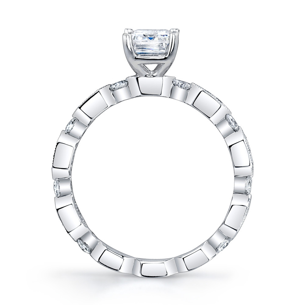 MARS Ever After White Gold Emerald Cut Diamond Geometric Engagement Setting Side View