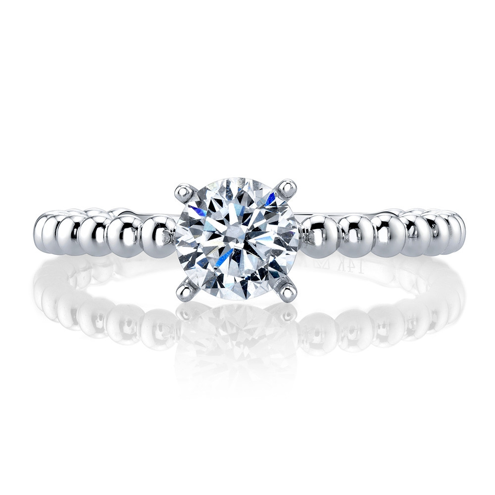 MARS Ever After White Gold Solitaire Bead Engagement Ring Setting