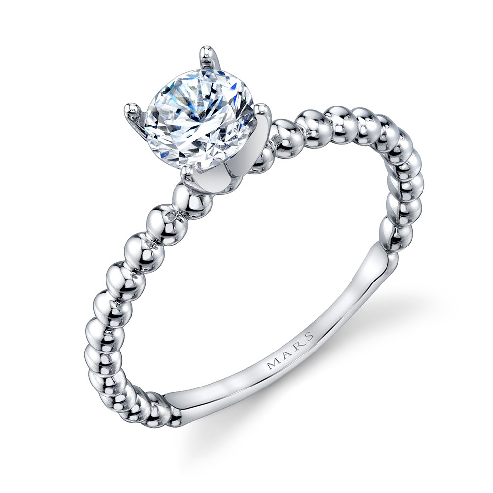 MARS Ever After White Gold Solitaire Bead Engagement Ring Setting Angle View