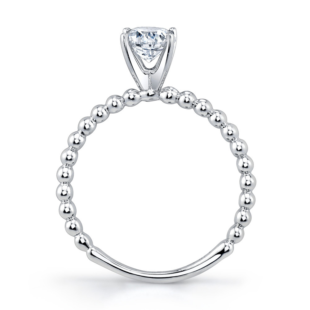 MARS Ever After White Gold Solitaire Bead Engagement Ring Setting Side View