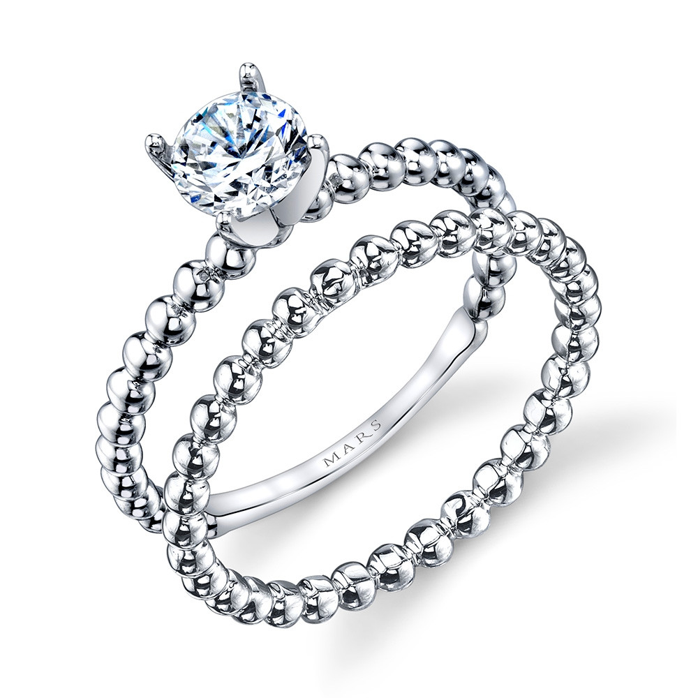 MARS Ever After White Gold Solitaire Bead Engagement Ring Set