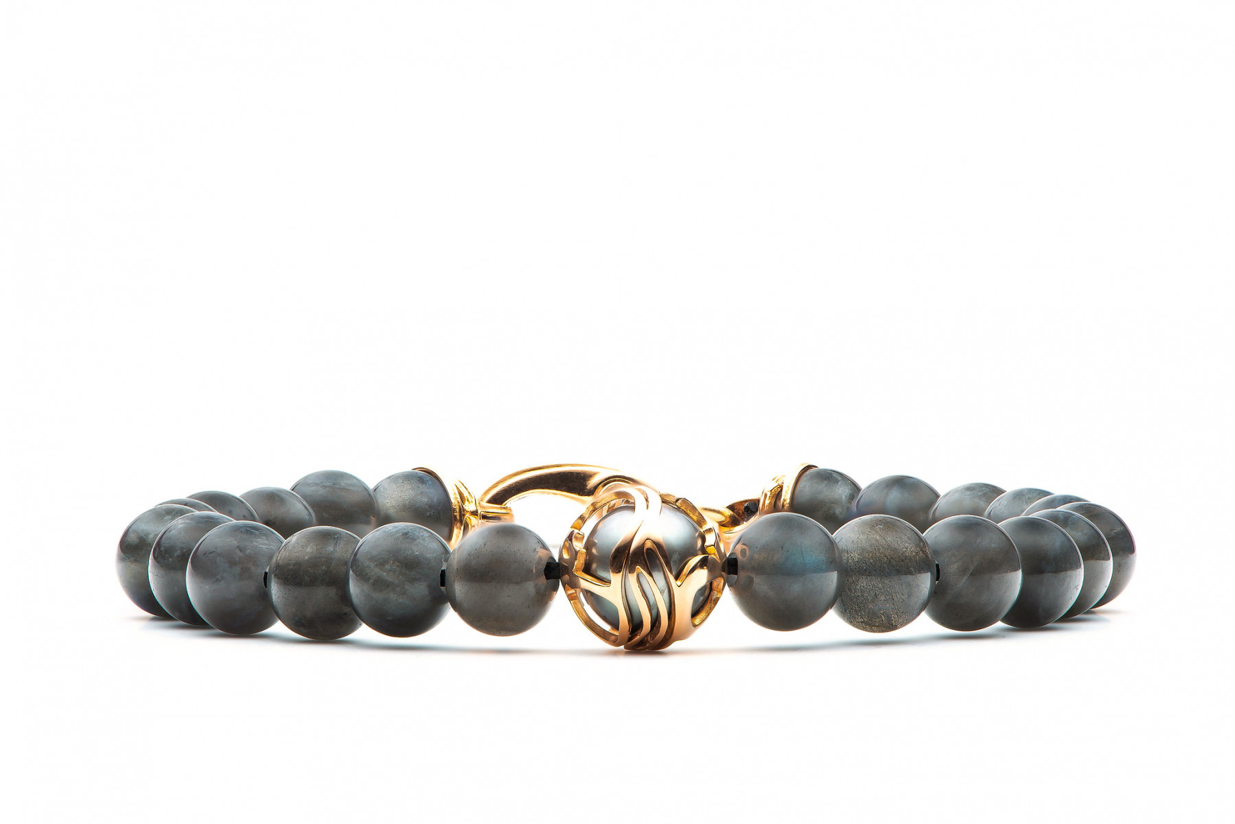 William Henry Moonlight Embrace Rose Gold Labradorite & South Sea Pearl Beaded Bracelet Front View