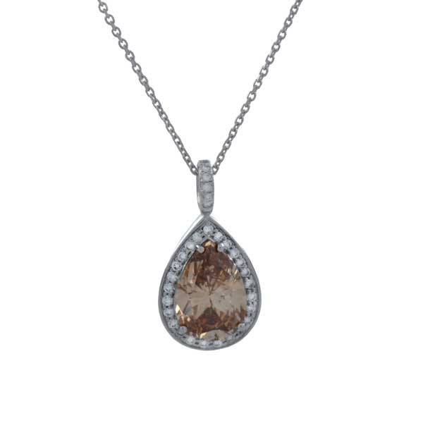 Pear Shaped Colored Diamond Pendant
