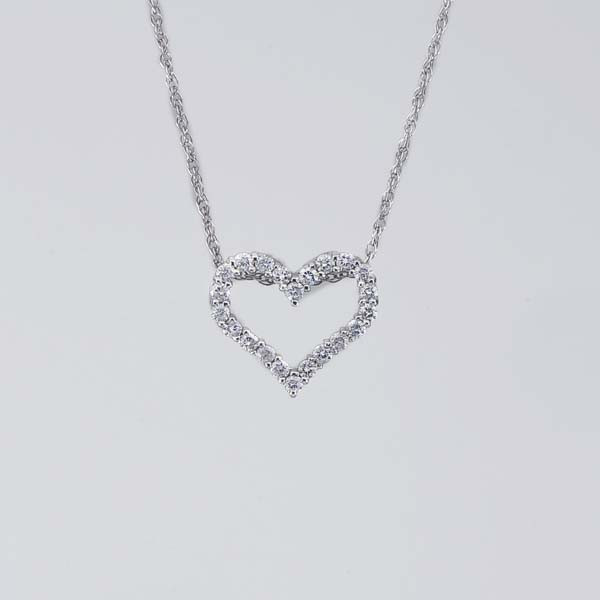 Open Heart White Gold Diamond Pendant on Adjustable Chain