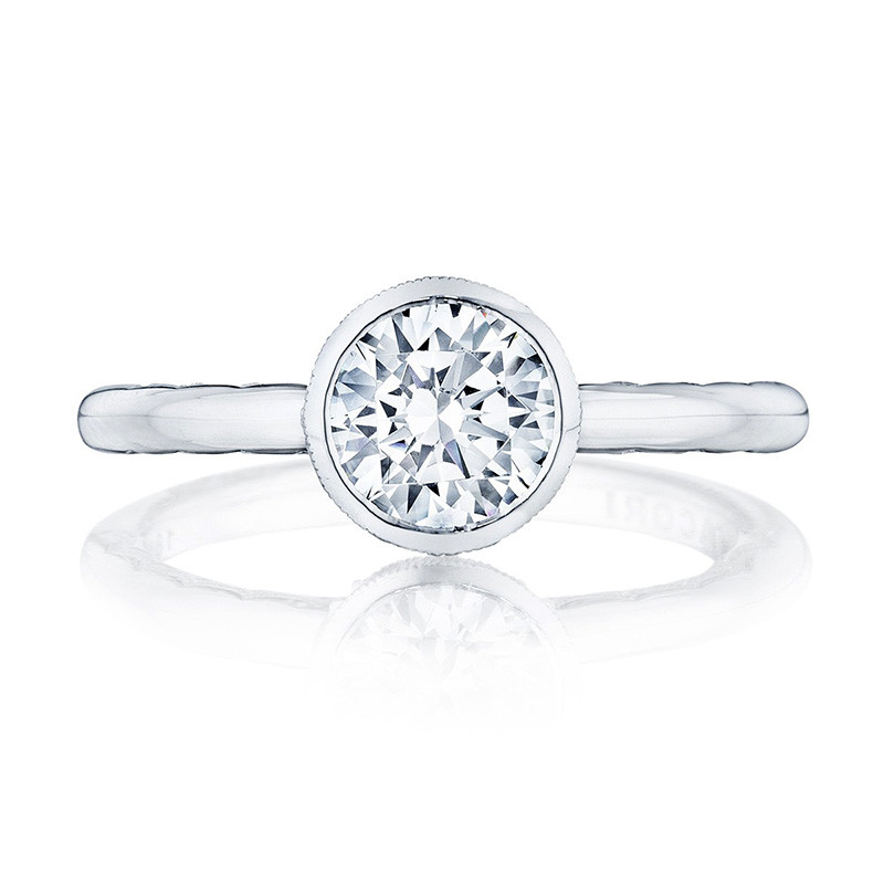 Tacori 300-2RD7.25 Platinum Bezel Set Engagement Ring Starlit Setting Top View