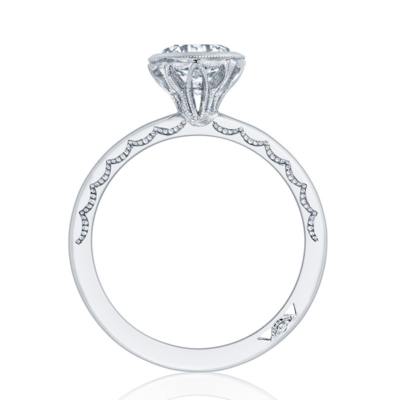 Tacori 300-2RD7.25 Platinum Bezel Set Engagement Ring Starlit Setting Edge View