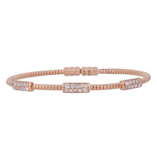 Rose Gold  Diamond Station Bracelet