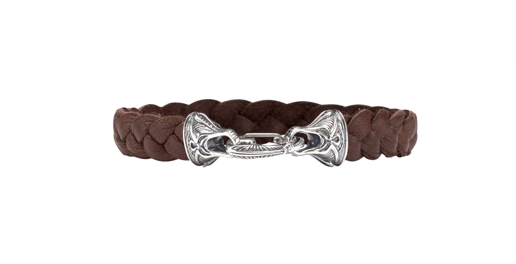 William Henry Hunter Silver Braided Brown Deerskin Bracelet Front View
