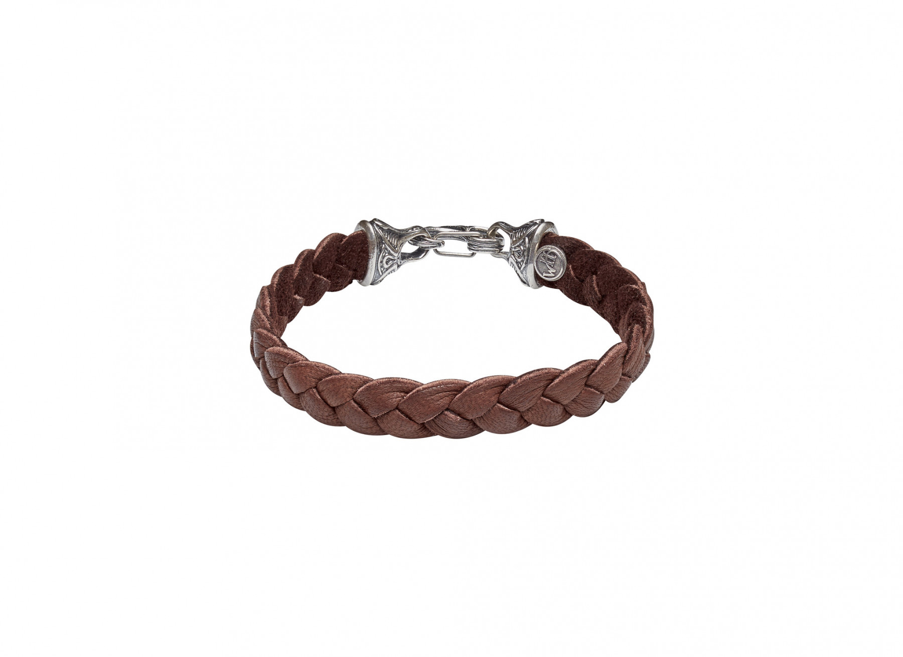 William Henry Hunter Silver Braided Brown Deerskin Bracelet Angle 2 View